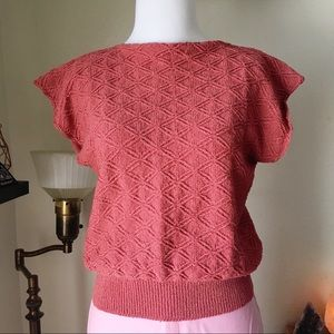 [VTG] Short Sleeve Coral Sweater Top